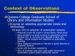 context of observations