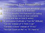 developing your presentation