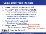 typical small tools lifecycle