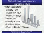 natural gas coalescers cartridge style