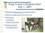 king county s program after july 1 2003