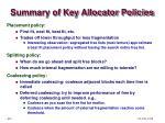 summary of key allocator policies