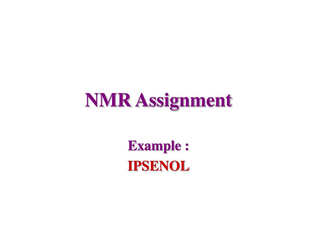 nmr assignment l.
