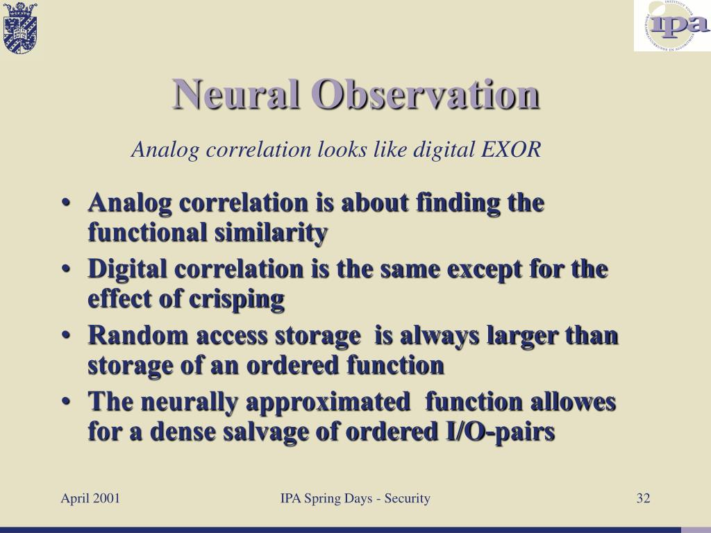 Analog correlation is about finding the functional similarity