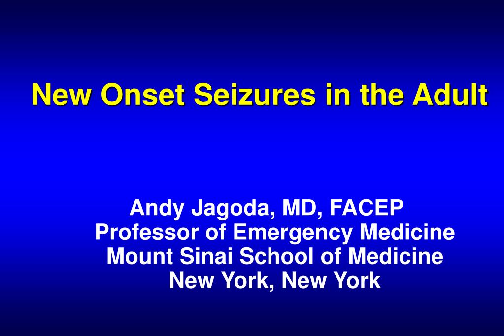 new onset seizures in the adult l.