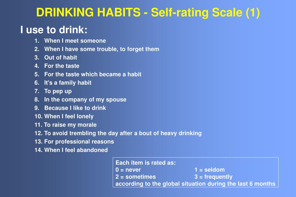 drinking habits self rating scale 1 l.