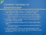 condition variables for synchronization
