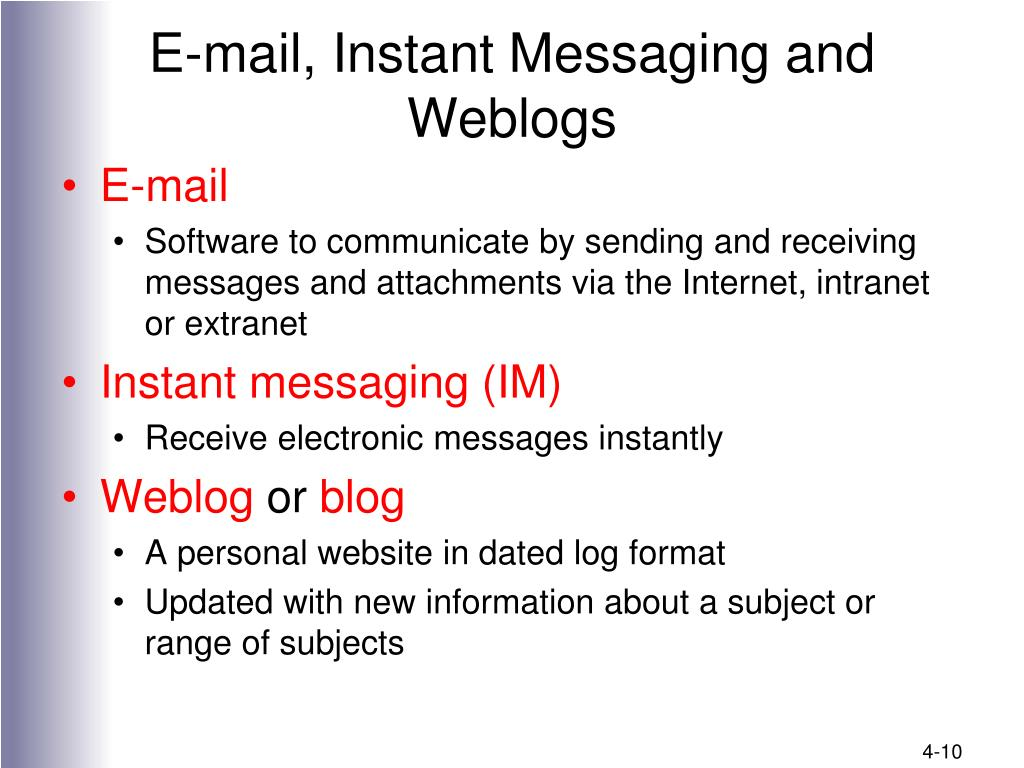 E-mail, Instant Messaging and Weblogs