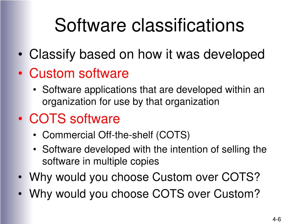 Software classifications