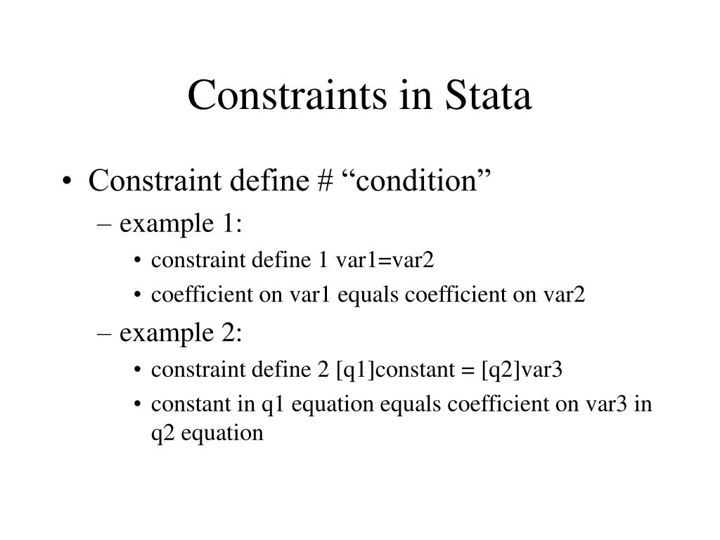 Constraints in Stata