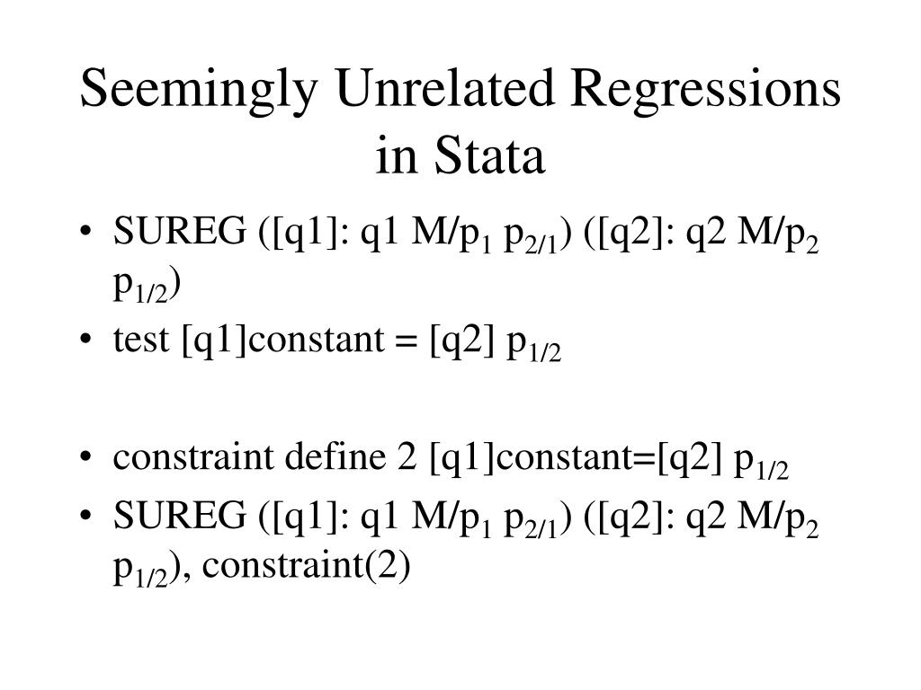 Seemingly Unrelated Regressions