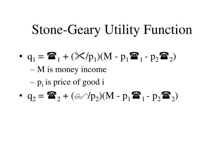Stone geary utility function