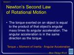 newton s second law of rotational motion