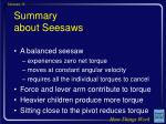 summary about seesaws