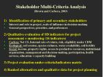 stakeholder multi criteria analysis brown and corbera 2003