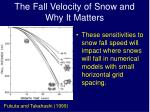 the fall velocity of snow and why it matters