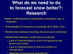 what do we need to do to forecast snow better research