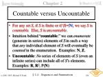 countable versus uncountable