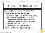 method 1 mutual subsets
