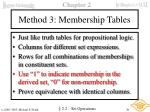 method 3 membership tables