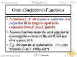 onto surjective functions
