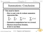 summations conclusion