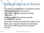 computer security of records
