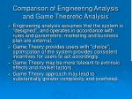 comparison of engineering analysis and game theoretic analysis