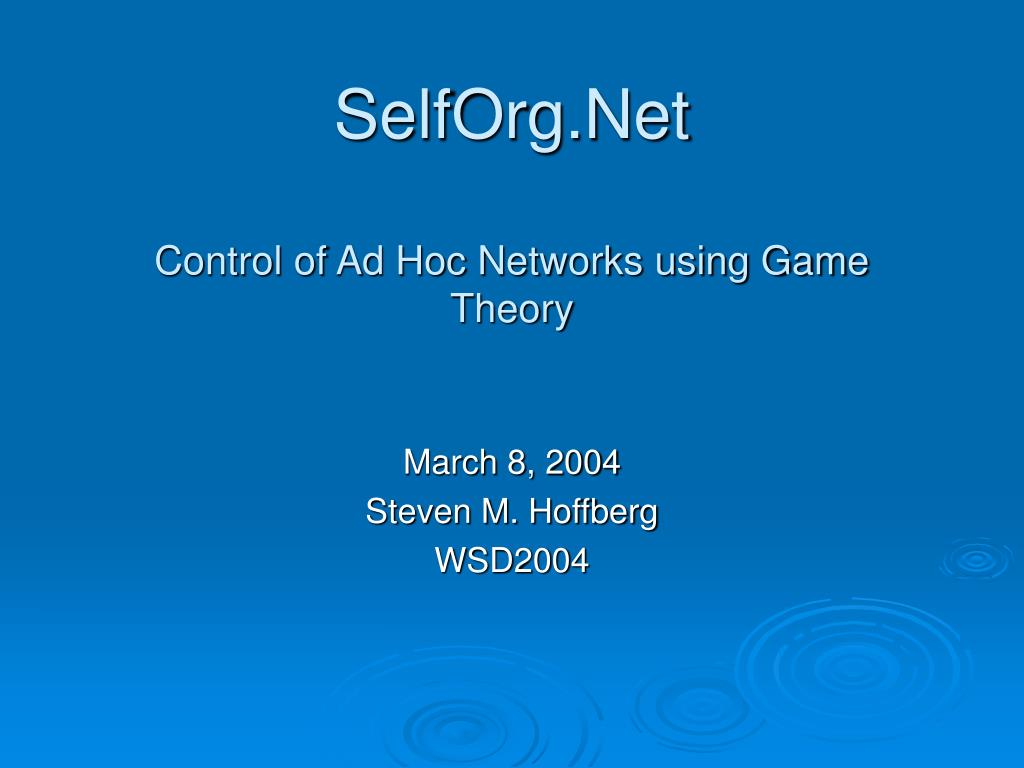 selforg net control of ad hoc networks using game theory l.