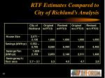 rtf estimates compared to city of richland s analysis