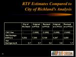 rtf estimates compared to city of richland s analysis30