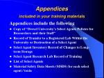 appendices included in your training materials