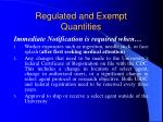 regulated and exempt quantities
