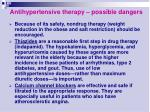 antihypertensive therapy possible dangers19