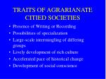 traits of agrarianate citied societies