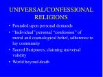 universal confessional religions