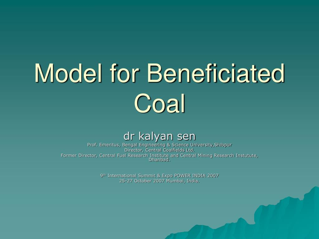 model for beneficiated coal l.