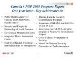 canada s nsp 2005 progress report one year later key achievements