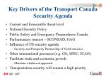 key drivers of the transport canada security agenda