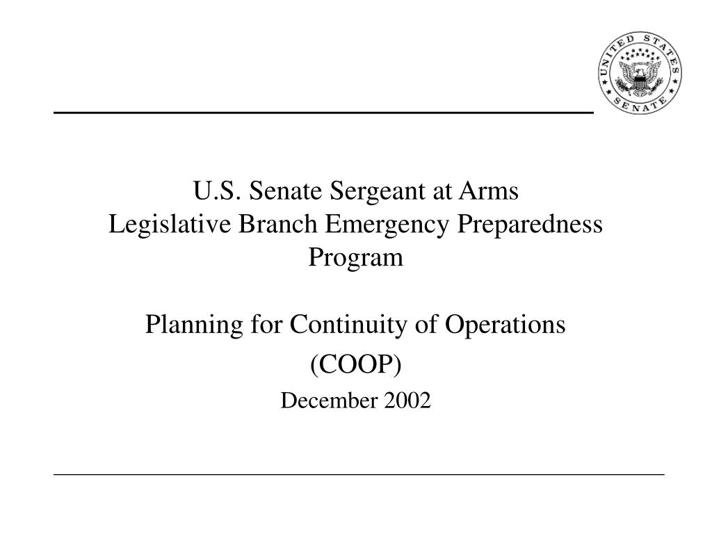 u s senate sergeant at arms legislative branch emergency preparedness program l.