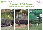 ecosystem qol services in the peri urban landscape