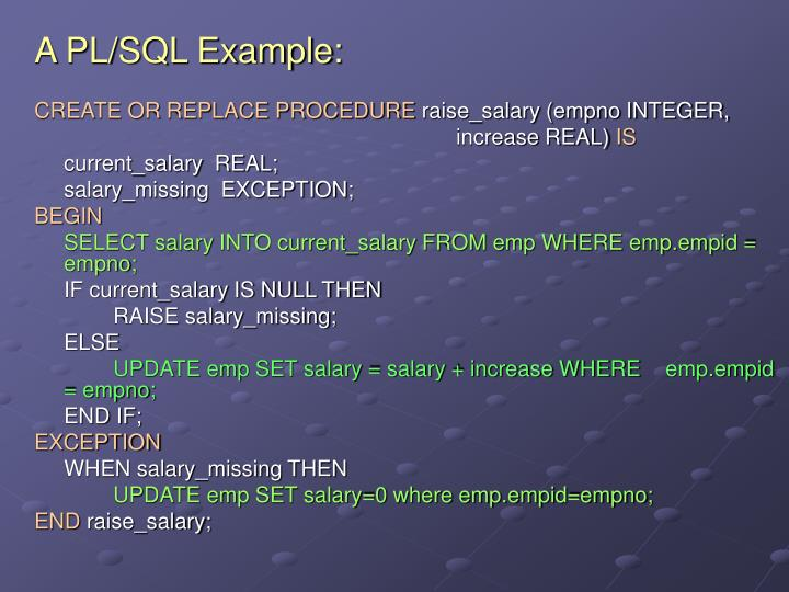 A PL/SQL Example: