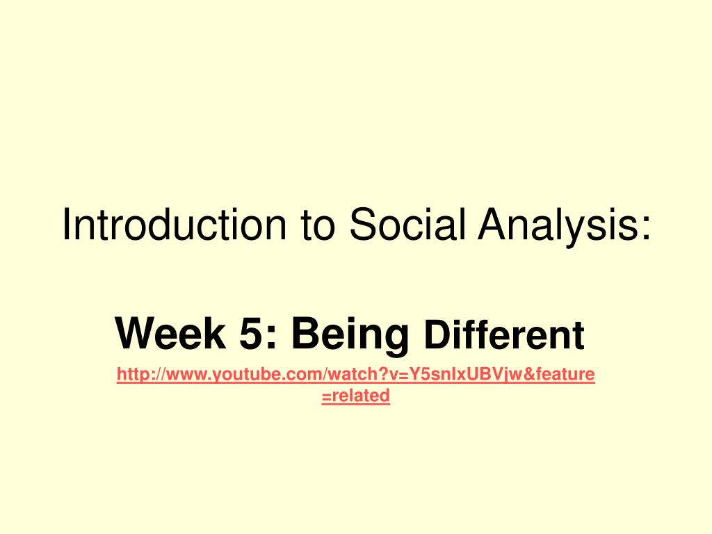 introduction to social analysis l.