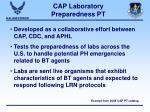cap laboratory preparedness pt