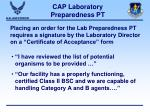 cap laboratory preparedness pt25