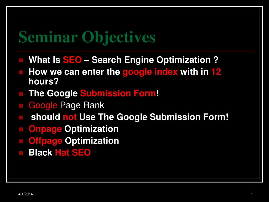 seminar objectives l.