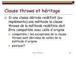 clause throws et h ritage