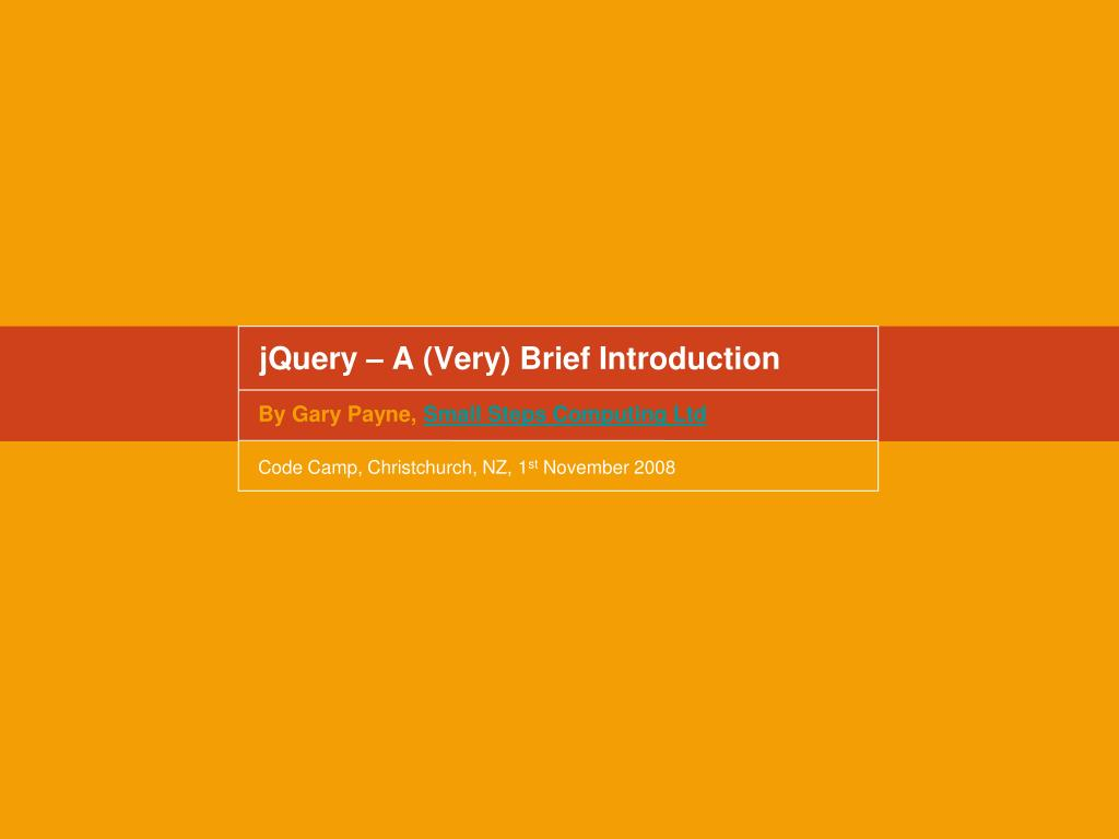 jquery a very brief introduction l.