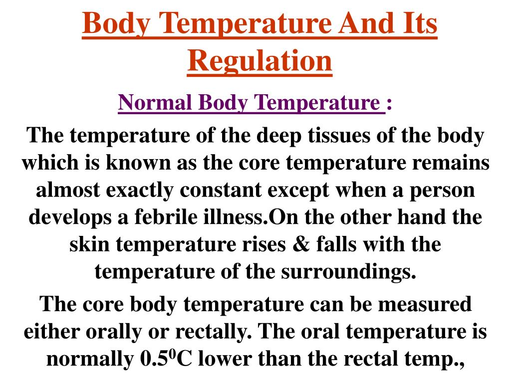 body temperature and its regulation l.