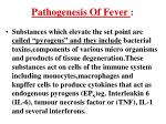 pathogenesis of fever